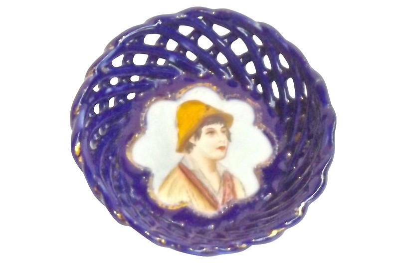 19th-C. German Basket-Weave Dish