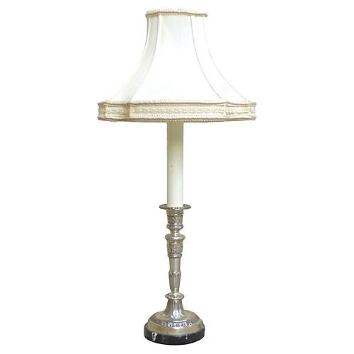 Silver Plate & Marble Candlestick Lamp