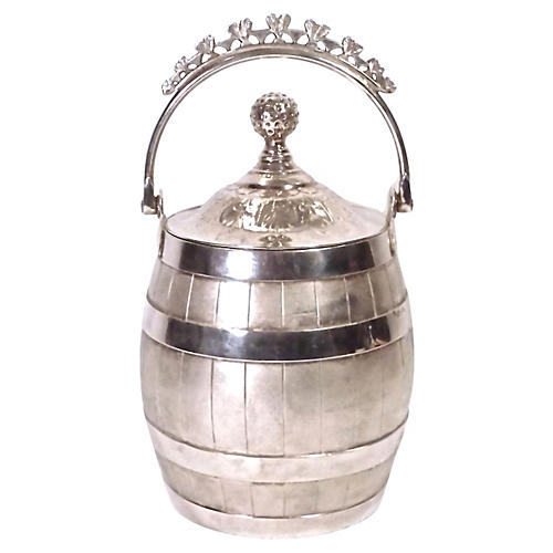 Antique Silver Plated Biscuit Barrel