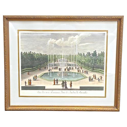 Ant. French Versailles Garden Engraving