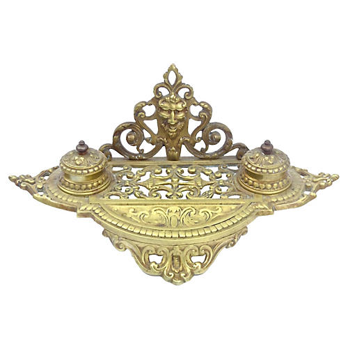 Renaissance Revival Double Brass Inkwell