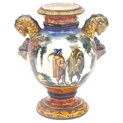 Hand-Painted French Faience Urn Vase