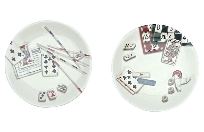 Gien Gaming Theme French Plates, S/2