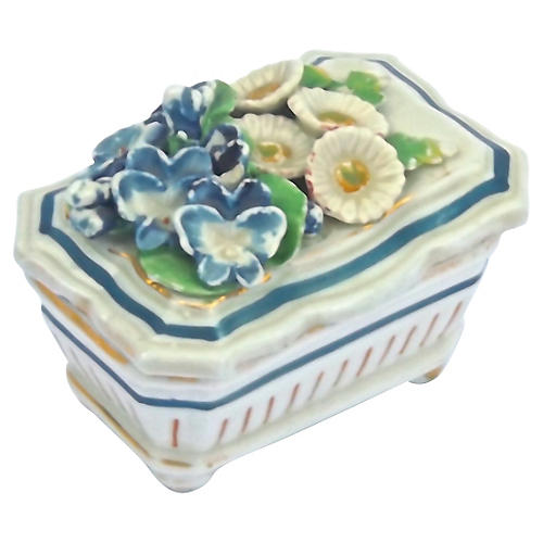 Antique Staffordshire Floral Trinket Box