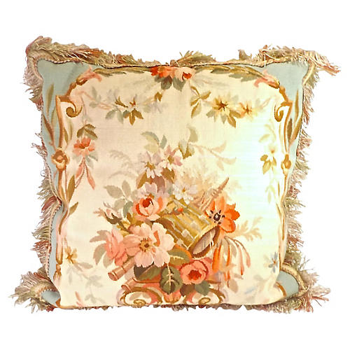 Floral & Music Themed Aubusson Pillow