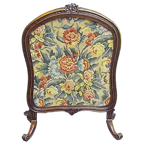 Floral Tapestry/Carved Wood Fire Screen