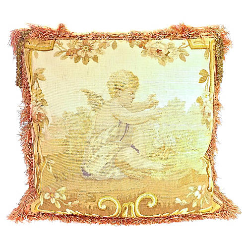 Cherub & Gold Tassel Aubusson Pillow