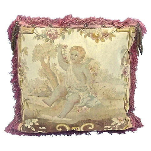 Gold Tasseled & Cherub Aubusson Pillow