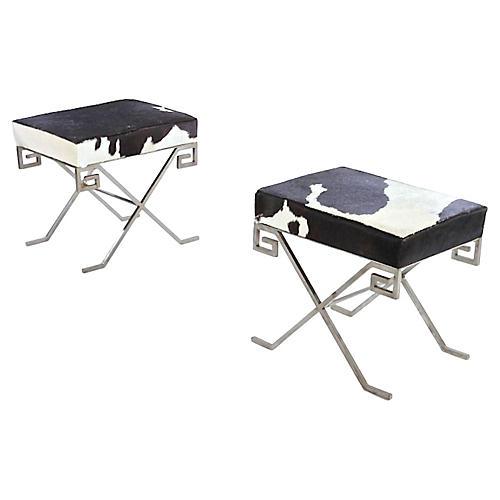 Jean Michel Frank-Style Hide Benches, Pr