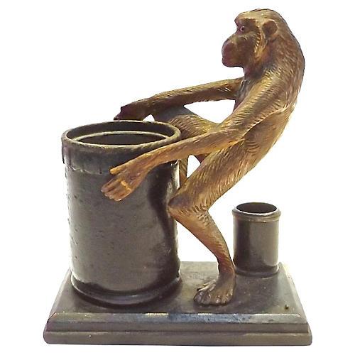 Black Forest Monkey Leather Tobacco Jar