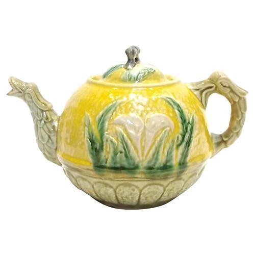 Ant. Majolica Calla Lily & Dragon Teapot