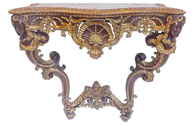 Antique Acanthus & Shell Console Table
