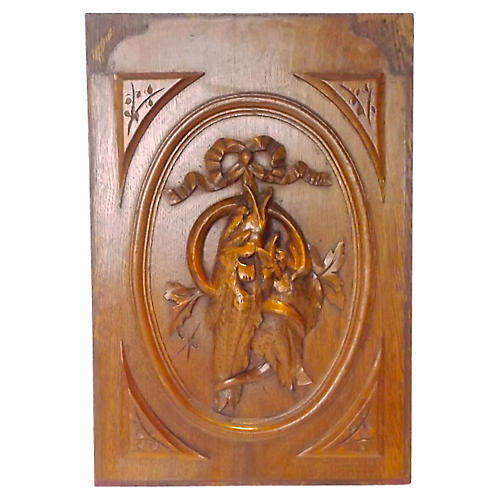 Antique Carved Nature Morte Wall Panel