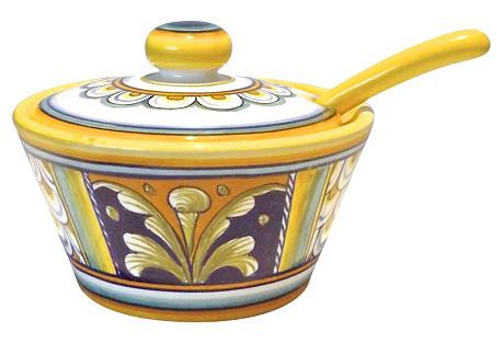 Italian Deruta Sugar Bowl w/ Spoon