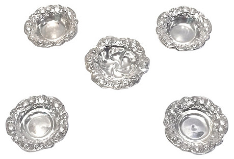 Sterling Silver Nut Dishes, S/5