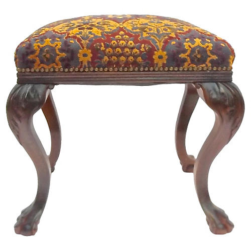 Upholstered Acanthus Cabriole Legs Stool