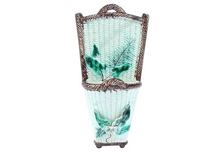 Fern & Leaf Majolica Basket Wall Pocket