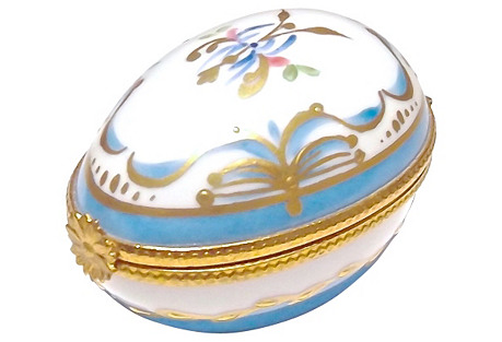 Porcelain Floral Egg-Themed Limoges Box