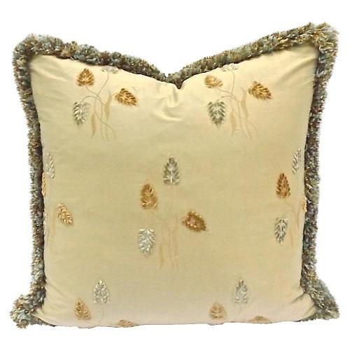 Velvet Leaf & Silk Pillow