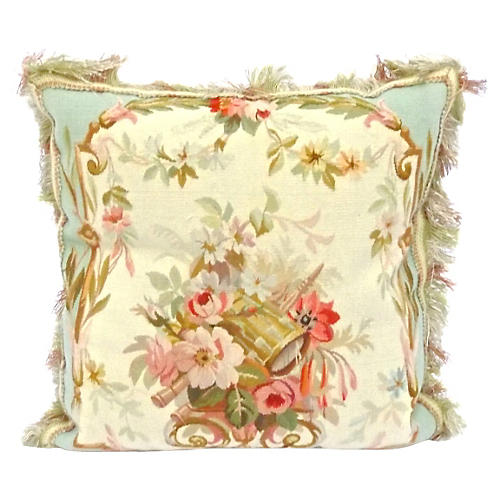 Floral/Music Instrument Aubusson Pillow