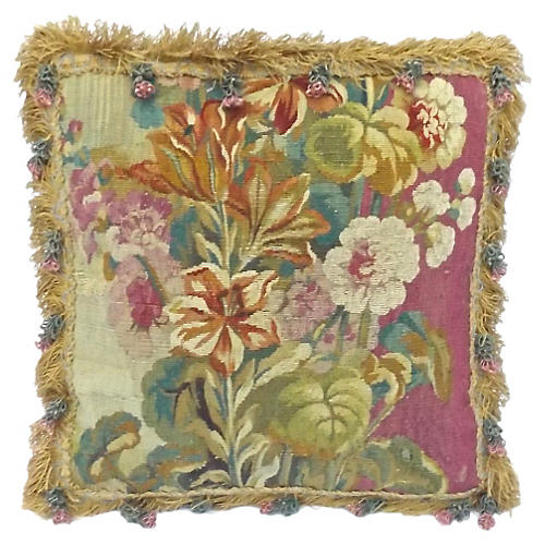 Aubusson Floral Pillow w/ Flower Tassels
