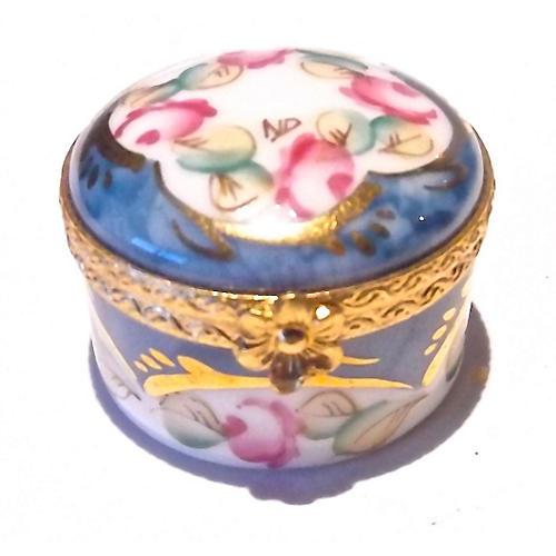 Porcelain Round Floral Limoges Box