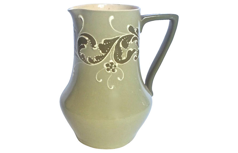 English Esso Faience Leaf Pitcher