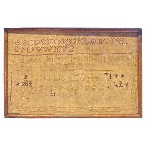 Antique Alphabet Needlework Sampler