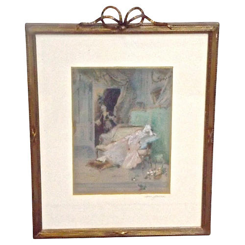 Antique Sweet Slumber, Gouache Painting