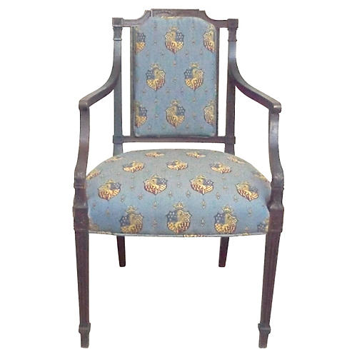 Antique Armorial Crest Armchair