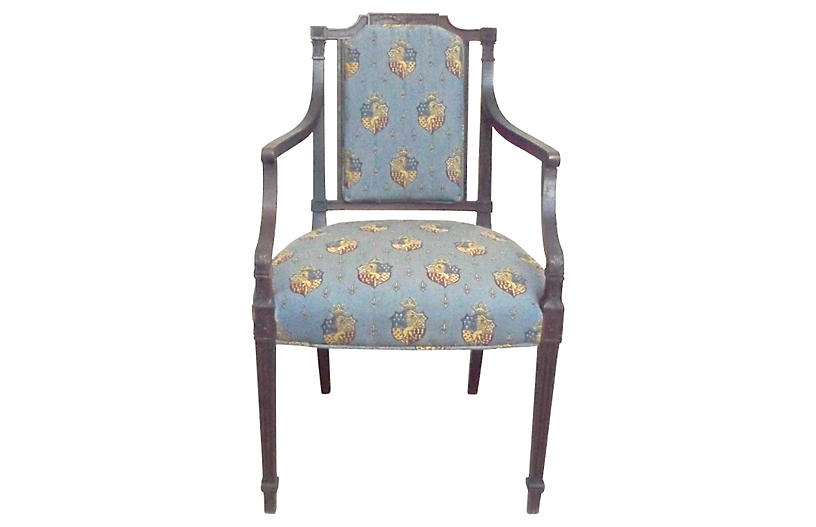 Antique Armorial Crest Armchair