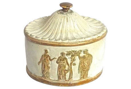 Lidded Ceramic Box w/ Classical Scene