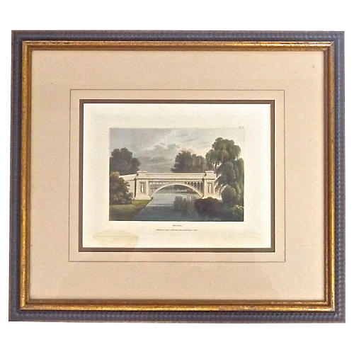 Antique Bridge Architectural Engraving