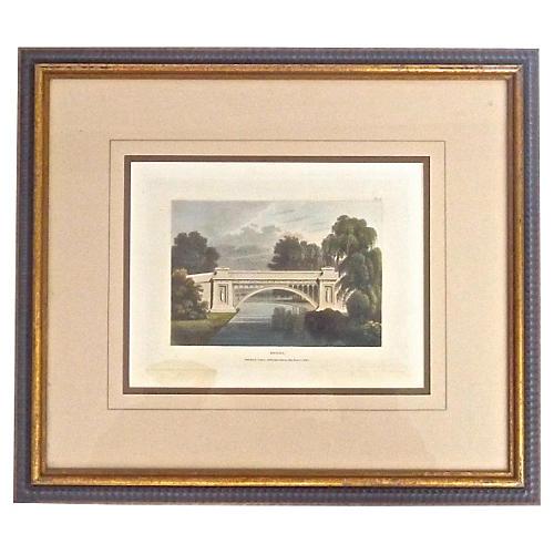 Antique Bridge Architectural Engraving