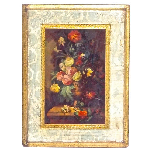 Florentine Floral Engraving Wall Plaque