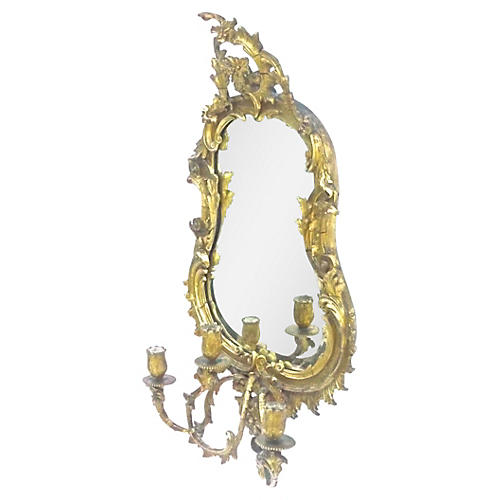 Antique French Gilt Acanthus Leaf Mirror