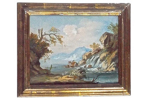 Antique Waterfall Landscape Oil Painting*
