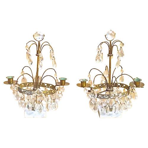 Antique Crystal & Brass Girandoles, S/2