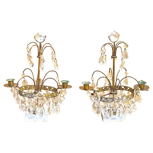 Antique Crystal & Brass Girandoles, S/2