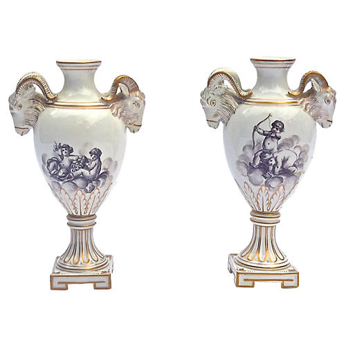 Antique Ram's Head & Cherub Vases, S/2