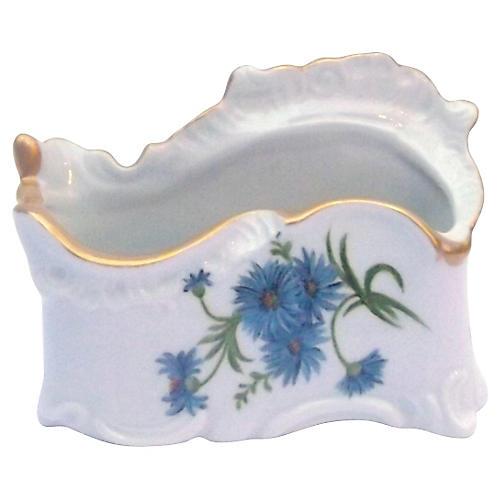Signed Porcelain Cornflower Vase