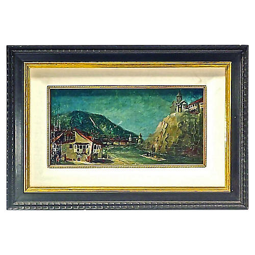 Antique Harbor Village Oil Painting