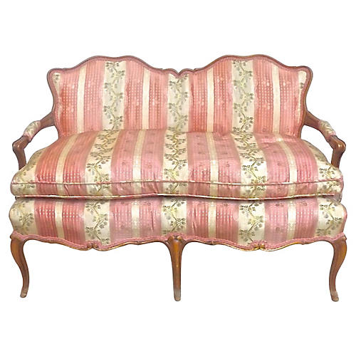 Antique Silk-Upholstered Settee