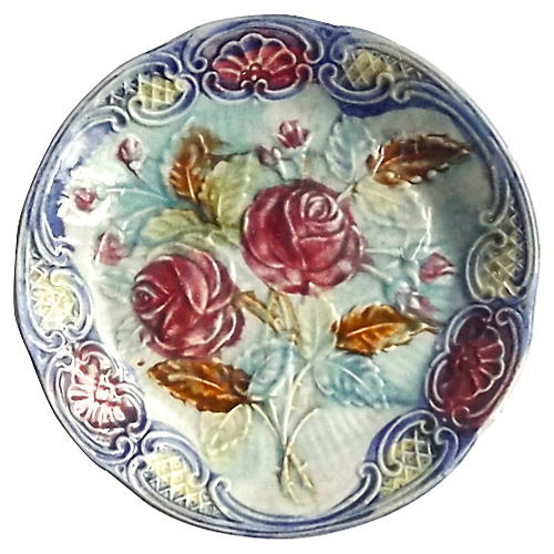 Antique French Rose Majolica Plate