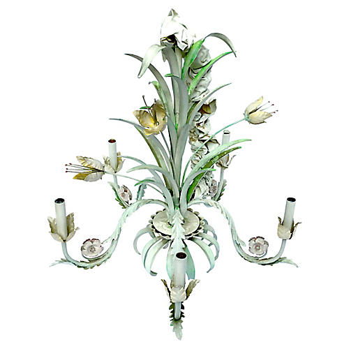 Painted Tole Floral & Leaf Chandelier