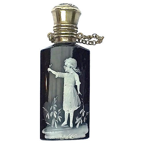 Antique Glass & Silver Perfume Vial