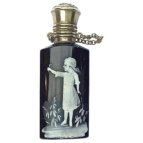 Antique Glass & Silver Perfume Vial