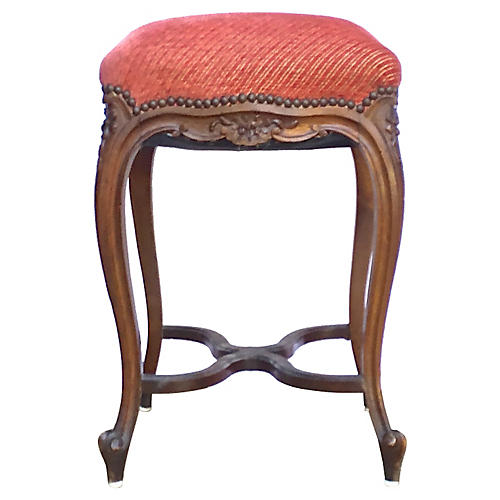 Antique Carved & Upholstered High Stool