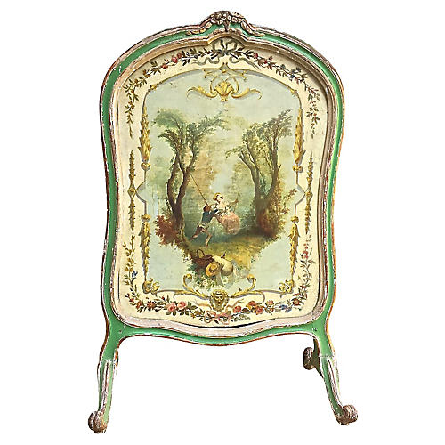 Antique French Hand-Painted Fire Screen