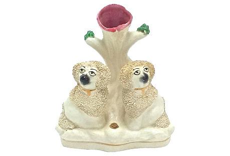English Staffordshire Poodles Spill Vase